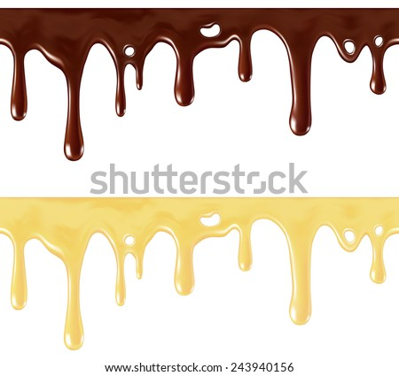 Isolated seamless repeatable melted brown and white chocolate flow down (individual drops removable) - stock vector