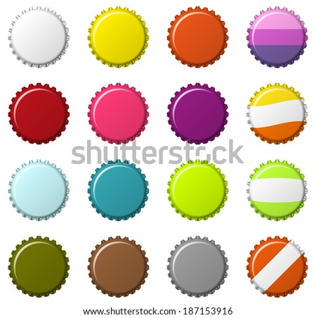 Isolated set of 16  blank colorful bottlecaps - stock vector