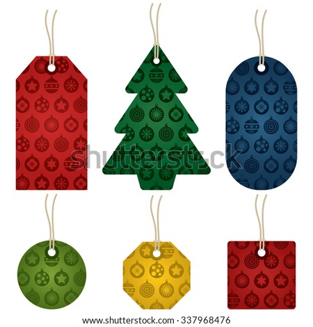 isolated set of christmas gift tags, various shapes and colors with bauble pattern - stock vector