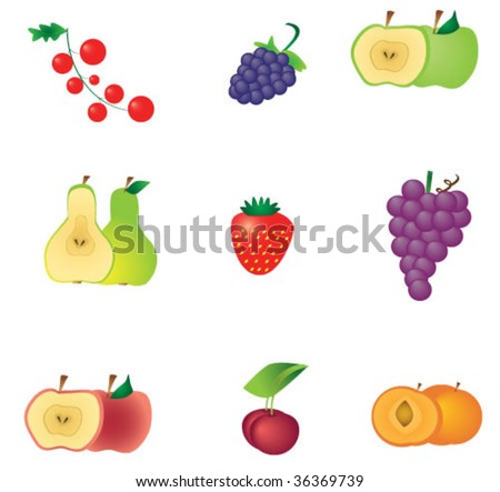 isolated set of fruit and berry - pear, currant, blackberry, strawberry, peach, apple, grape, cherry