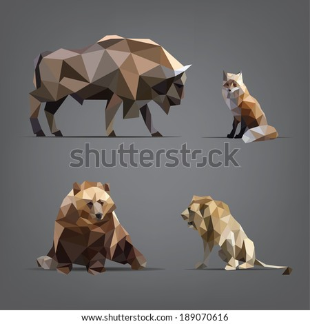 Isolated set of wild animals in the geometric style - stock vector