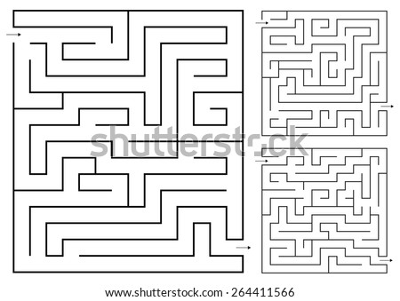 isolated set Vector maze game 3 - stock vector