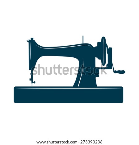 Isolated sewing machine isolated on white background. Design template for label, banner, badge, logo. Sewing machine vector illustration. - stock vector