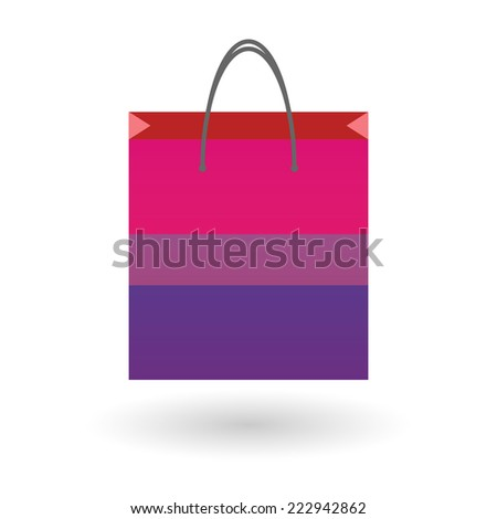 Isolated shopping bag with a bisexual pride flag