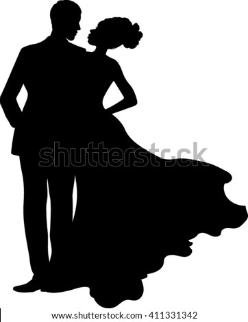 Isolated Silhouette Couple - Vector Illustration  - stock vector