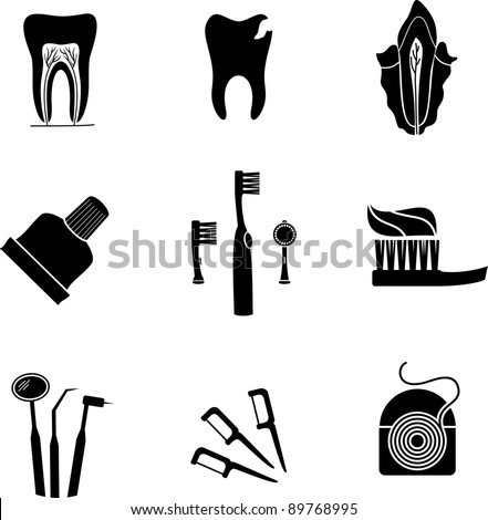 isolated silhouette dental icons - stock vector