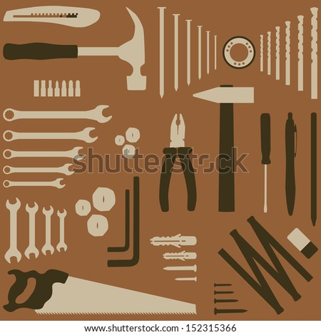Isolated silhouette illustration of DIY tool - stock vector