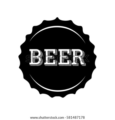isolated silhouette beer bottle cap vector stock vector 581487178