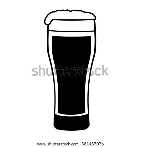 Filled Pint Glass With Black Logo