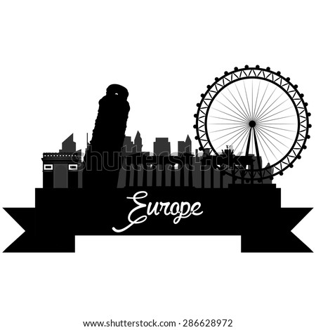 Isolated silhouette of a skyline of some european cities and its monuments. Vector illustration - stock vector