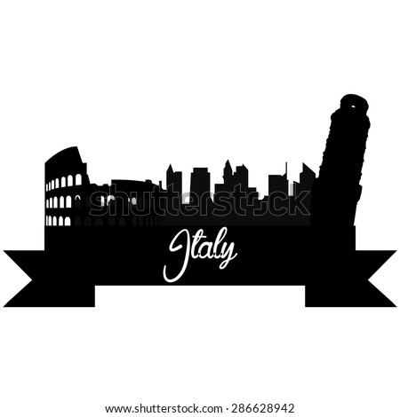 Isolated silhouette of a skyline of some italian cities and its monuments. Vector illustration - stock vector