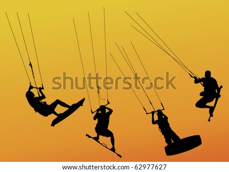 isolated silhouette of kite surfers riding and jumping - stock vector