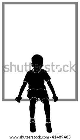 isolated silhouette of sitting boy - stock vector