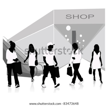 Isolated silhouettes of people shopping.Vector illustration - stock vector