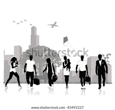 Isolated silhouettes of people .Vector illustration - stock vector