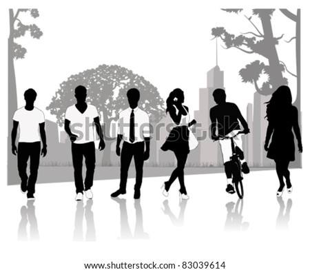 Isolated silhouettes of people walking.Vector illustration - stock vector