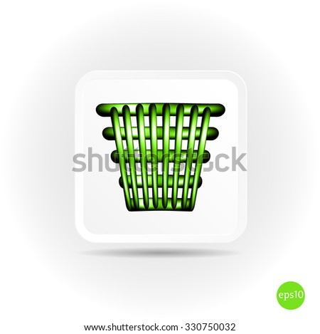 Isolated, simple, green bin icon, symbol, button with shadows on bright background - stock vector