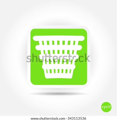 Isolated, simple, green, white bin icon, symbol, button on bright background - stock vector