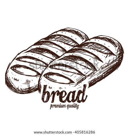 Isolated sketch of a group of breads on a white background with text