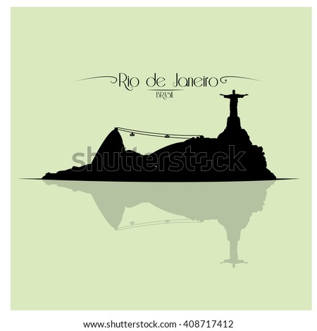Isolated skyline of Rio de Janeiro on a colored background - stock vector