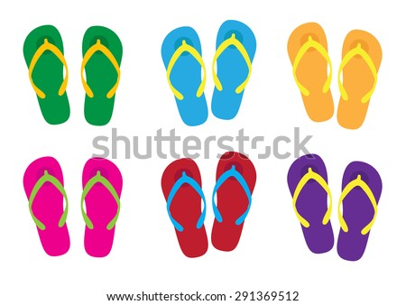 isolated slippers with colorful colors for holiday, slippers vector