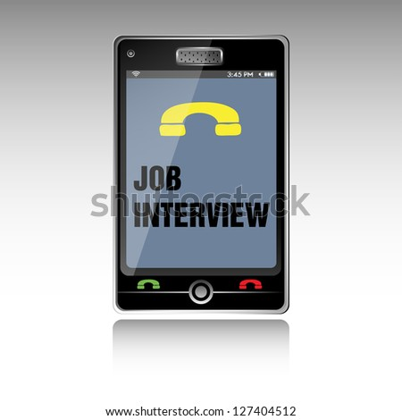 Isolated smartphone with the text job interview written on its screen. Job interview theme - stock vector