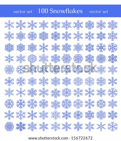 Isolated snowflakes on white background. Winter decorative elements. Can be used for backgrounds, packaging, invitations,cards, wrapping paper.  - stock vector