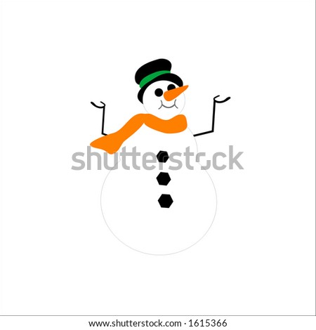 isolated snowman - stock vector