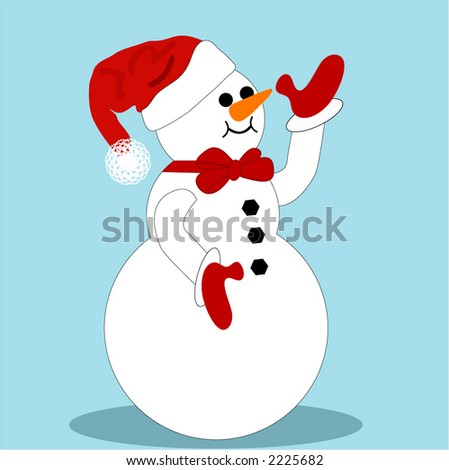 isolated  snowman with santa hat  and mittens waving - stock vector