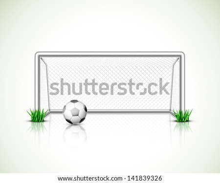 Isolated soccer goal and ball. Illustration contains transparency and blending effects, eps 10 - stock vector