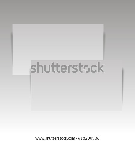 Isolated stack of blank business card on white background with soft shadows. Vector