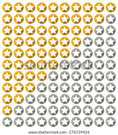 Isolated star rating system with stars with long shadow in circles (from 10 to 0) - stock vector