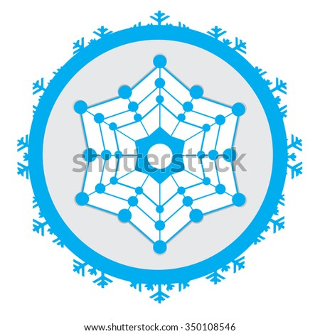 Isolated sticker with a blue snowflake on a white background