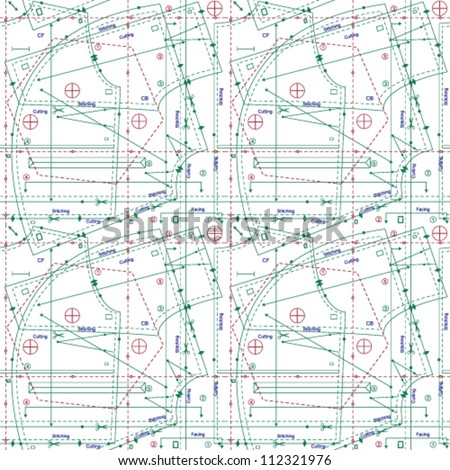 Isolated stylized sewing pattern - stock vector