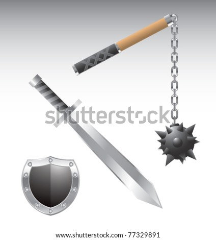 Isolated sword, shield, and mace - stock vector