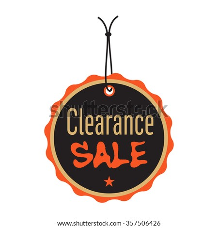 Isolated tag with the text clearance sale written on the tag