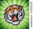 isolated tiger head - vector background - stock photo
