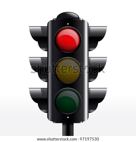 Isolated traffic light red vector - stock vector