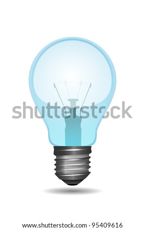 Isolated transparent bulb with shadow on white, vector illustration, eps10