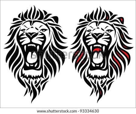 Isolated tribal lion tattoo - vector illustration - stock vector