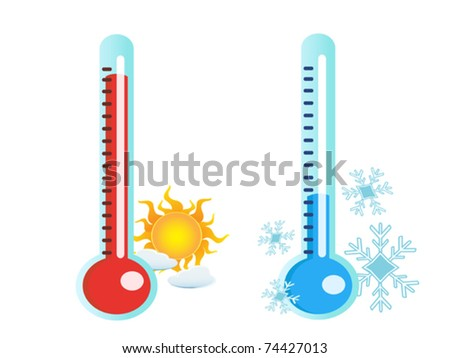 isolated two thermometer in hot and cold temperature - stock vector