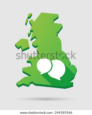 Isolated United Kingdom map icon with a comic balloon - stock vector