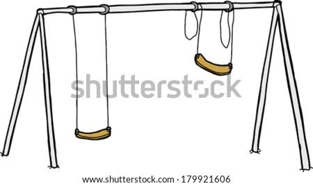 Isolated vandalized swing set over white background - stock vector