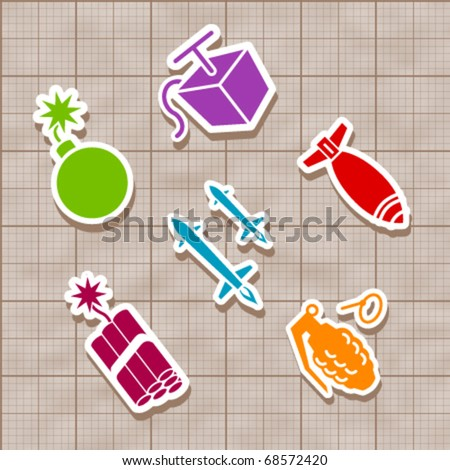 Isolated Vector bomb and rocket stickies - stock vector