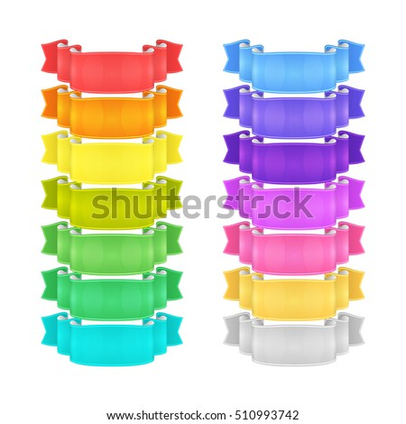 isolated vector colored satin ribbons set - red, orange, yellow, green, blue, purple, violet, silver and golden