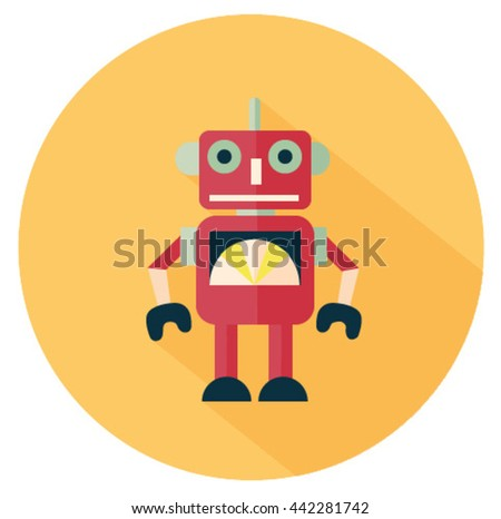Isolated vector colorful unrealistic flat design robot toy with shadow inside the yellow circle on the white background