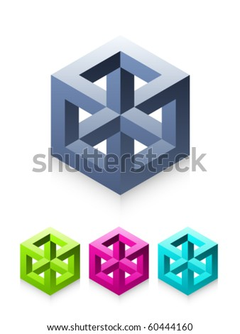 Isolated Vector Cube Illusion - stock vector
