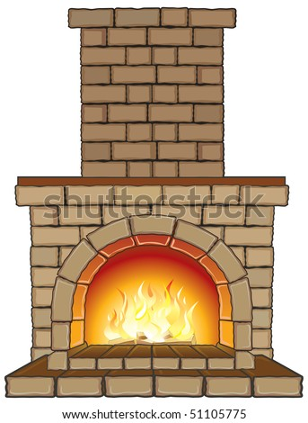 Isolated vector Fireplace with fire-separated elements - stock vector
