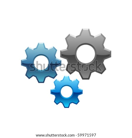 Isolated Vector Gears - stock vector