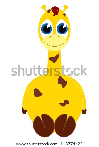 isolated vector illustration of a baby cartoon giraffe
